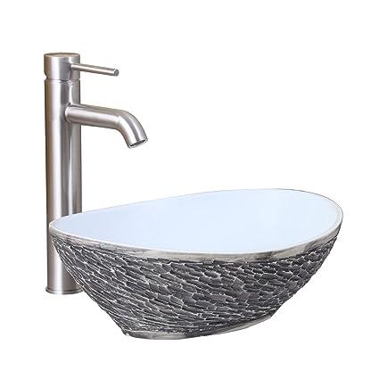 Elite Oval Gray And White Porcelain Ceramic Bathroom Vessel Sink