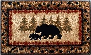 Masada Rugs, Cabin Lodge Area Rug Bear and Cub Scene (2 Feet X 3 Feet 4 Inch) Mat