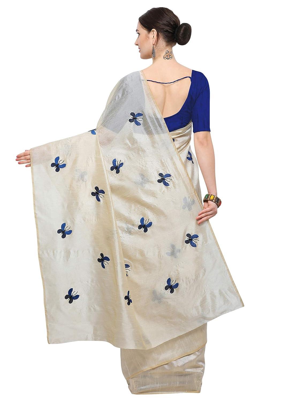 Beige & Blue Kanchipuram Art Silk Saree With Blouse Piece For Festive Wear
