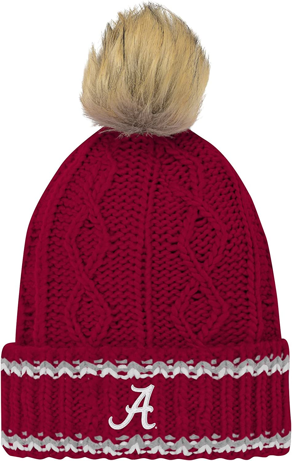 Victory Red Youth Girls One Size NCAA Alabama Crimson Tide Youth Girls Core Furry Pom Cable Knit Hat
