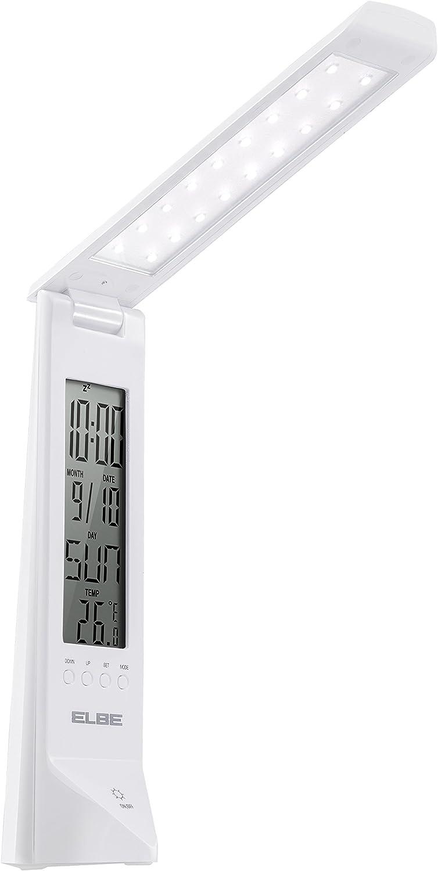 Elbe LAM-010 - Lámpara con luz LED y reloj despertador, intensidad regulable