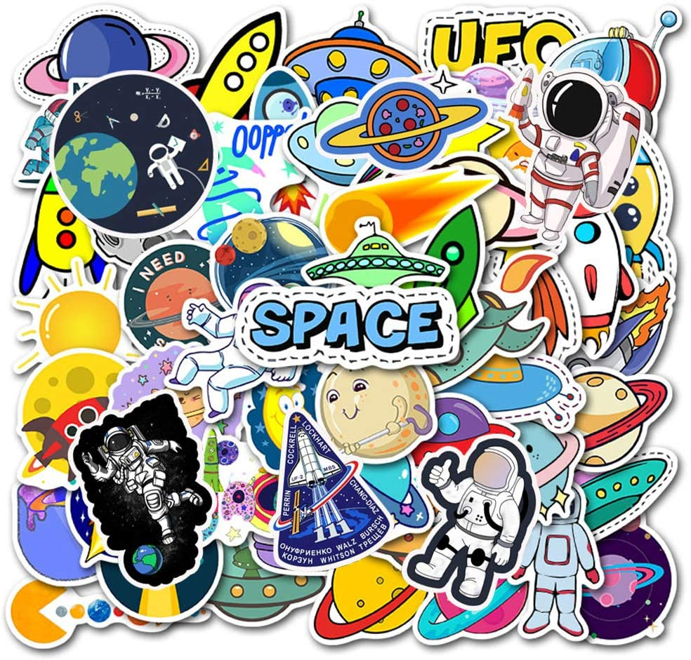Rainmae 100 Pcs Outer Space Sticker Laptop Sticker Pack Solar System Planet NASA Astronaut Decal for Laptop iPad Water Bottle Luggage Refrigerator Skateboard Space Explorer Graffiti Decals