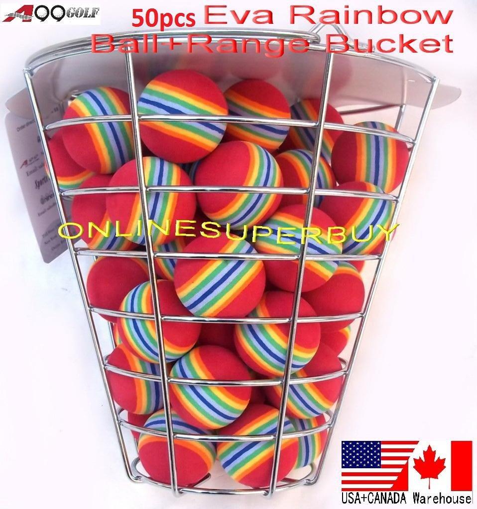 50pcs EVA ball foam ball rainbow practice golf training aids with metal wire range bucket