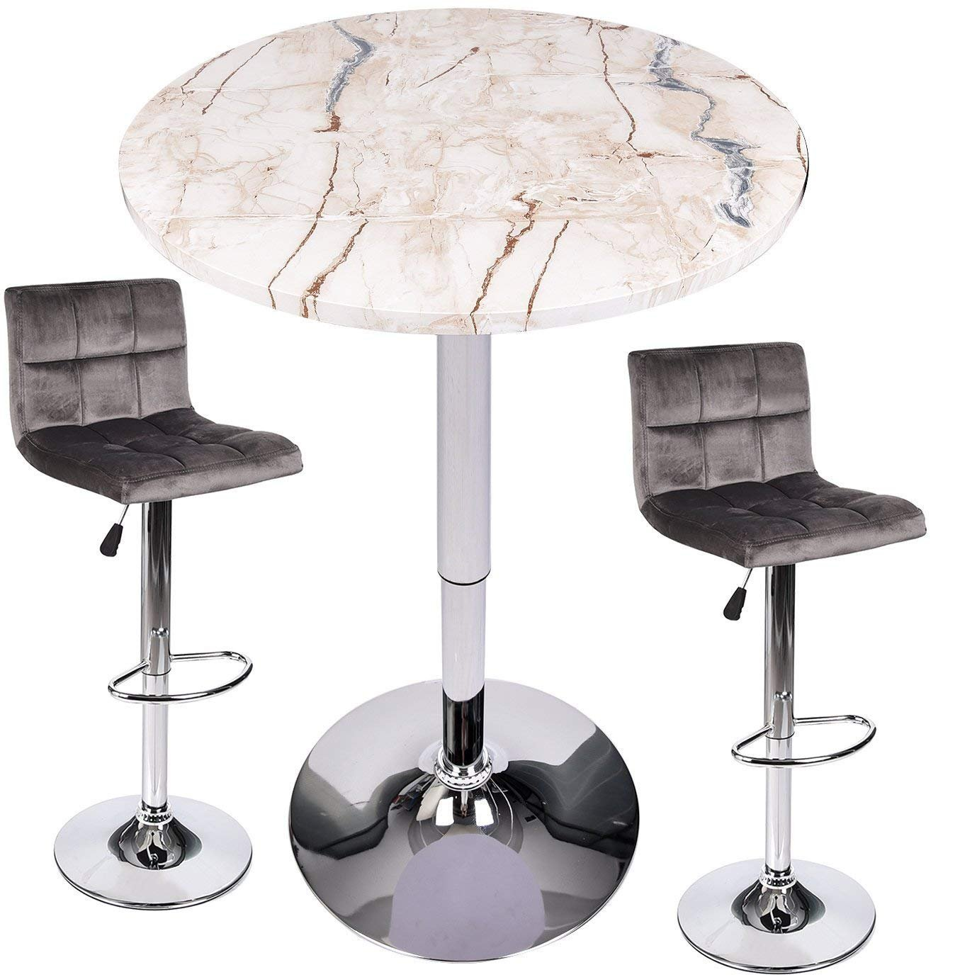 3 Piece Bar Table Stools Set - Height Adjustable Table with Swivel Bar Chairs Set - Bistro Pub Kitchen Dining Furniture (Set 6)