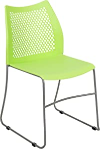 Flash Furniture HERCULES Series 661 lb. Capacity Green Stack Chair with Air-Vent Back and Gray Powder Coated Sled Base