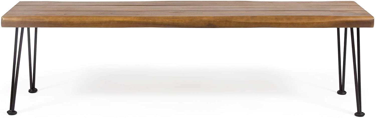 Christopher Knight Home 312780 Gladys Outdoor Modern Industrial Acacia Wood Bench Hairpin Legs, Teak and Rustic Metal