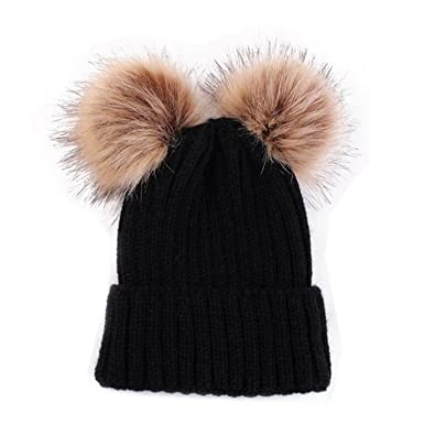 9554c520aaf HMILYDYK Fashion Knitted Ribbed Winter Beanie Bobble Hat Soft Twin Faux Fur  Pom Pom Ski Beret Cap For Mens Womens Girls  Amazon.co.uk  Clothing