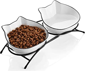 SAMSLE Cat Bowls, 12 Ounces Porcelain Cat Bowl with Stand, Cat Food Water Bowls, Pet Dishes for Small Cat, Double Bowls with Anti Slip Feed for Comfortable Feeding, White