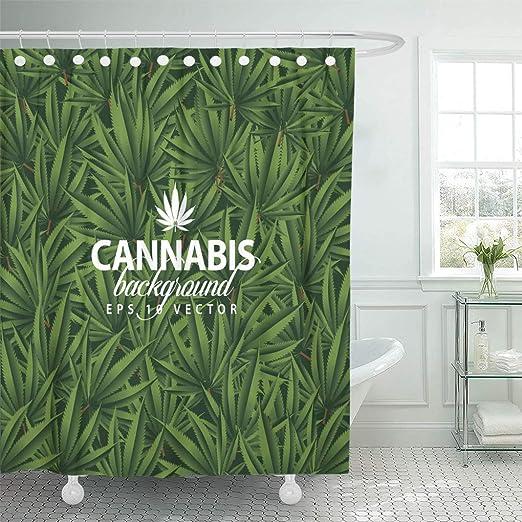 Green Marijuana Leaves Pattern Waterproof Fabric Shower Curtain Set Bathroom Mat