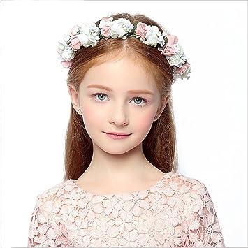 Amazon Com Princess Flower Wreath Crown Floral Headband Hair Wreath