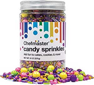 ChefMaster: Carnival Candy Sprinkles - Premium Candy Rainbow Sprinkles with Metallic Stars, Jimmies and Sugar Pearls - 8oz. - For Cookies, Cake Decorations, Ice Cream, Cupcakes and Donuts