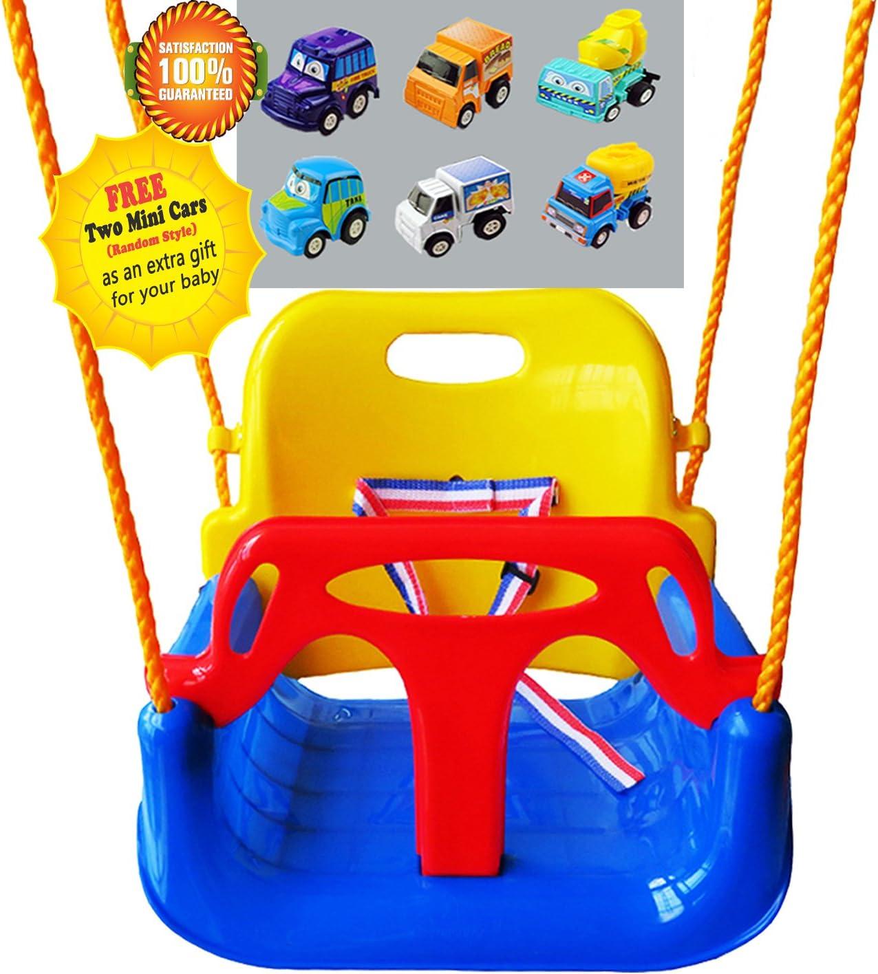 Littlefun 3-in-1 Infant to Toddler Upgrade Swing Anti-flip Snug & Secure Detachable Children Outdoor Play Patio Garden Amusement Park Equipment Bonus Mini Cars Gifts(Color:Blue Chair)