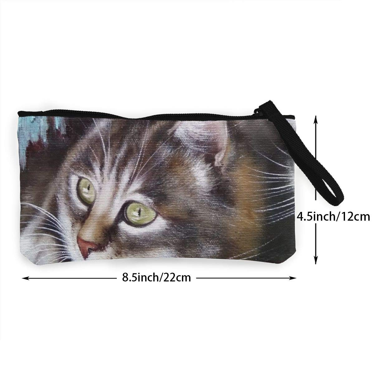 YUANSHAN Oil Painting My Two Cats Unisex Canvas Coin Purse Change Cash Bag Zipper Small Purse Wallets with Handle