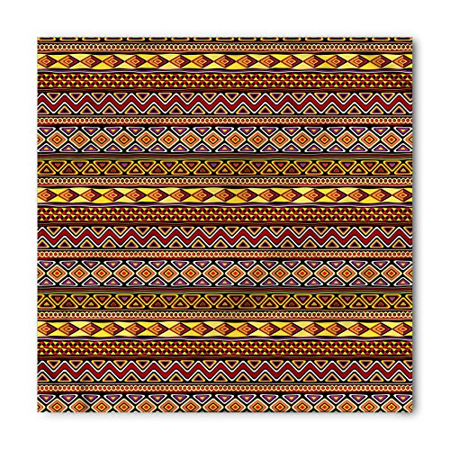African Bandana by Ambesonne, Motifs from the Dark Continent Diamond Shape Zig Zag and Triangles African Culture, Printed Unisex Bandana Head and Neck Tie Scarf Headband, 22 X 22 Inches, - Head Shape Diamond Men