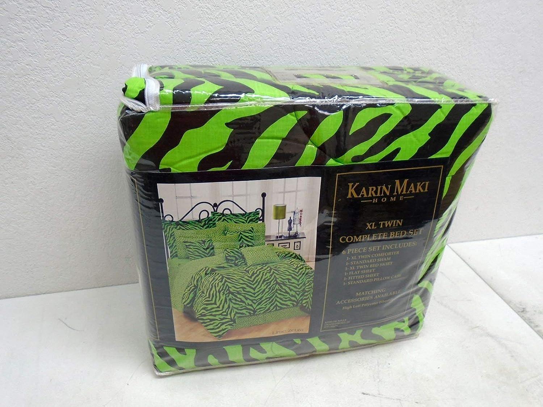 Lime Karin Maki Zebra Complete Bedding Set Twin