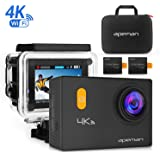 APEMAN 4K WIFI Sports Action Camera Diving 30M Underwater Camera 20MP Waterproof DV Camcorder Ultra 170° Wide Angle Lens 2 Inch LCD Display with 2 Pcs Rechargeable Batteries, Portable Package and Outdoor Accessories Kits