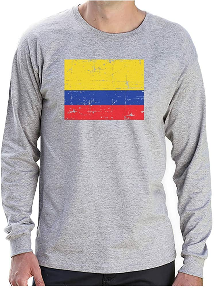Camiseta de Manga Larga para Hombre - Bandera de Colombia en Estilo Retro Vintage Small Gris: Amazon.es: Ropa y accesorios