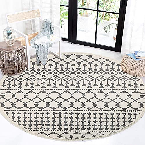 HEBE 4 Ft Round Area Rugs Machine Washable Hand Woven Cotton Round Rug with Tassel Fringe Indoor Throw Rugs Floor Carpet for Living Room Bedroom Kids