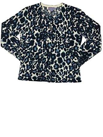 5228fc9a1cfa Womens Blue Cheetah Knit Sweater Casual Dress Leopard Animal Print Pullover  at Amazon Women's Clothing store:
