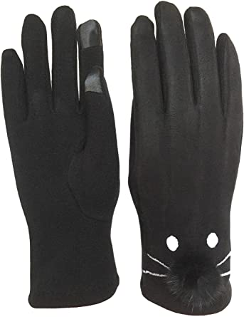 Touch Screen Gloves Women Winter Warm Suede-lined Full Finger Windproof Gloves