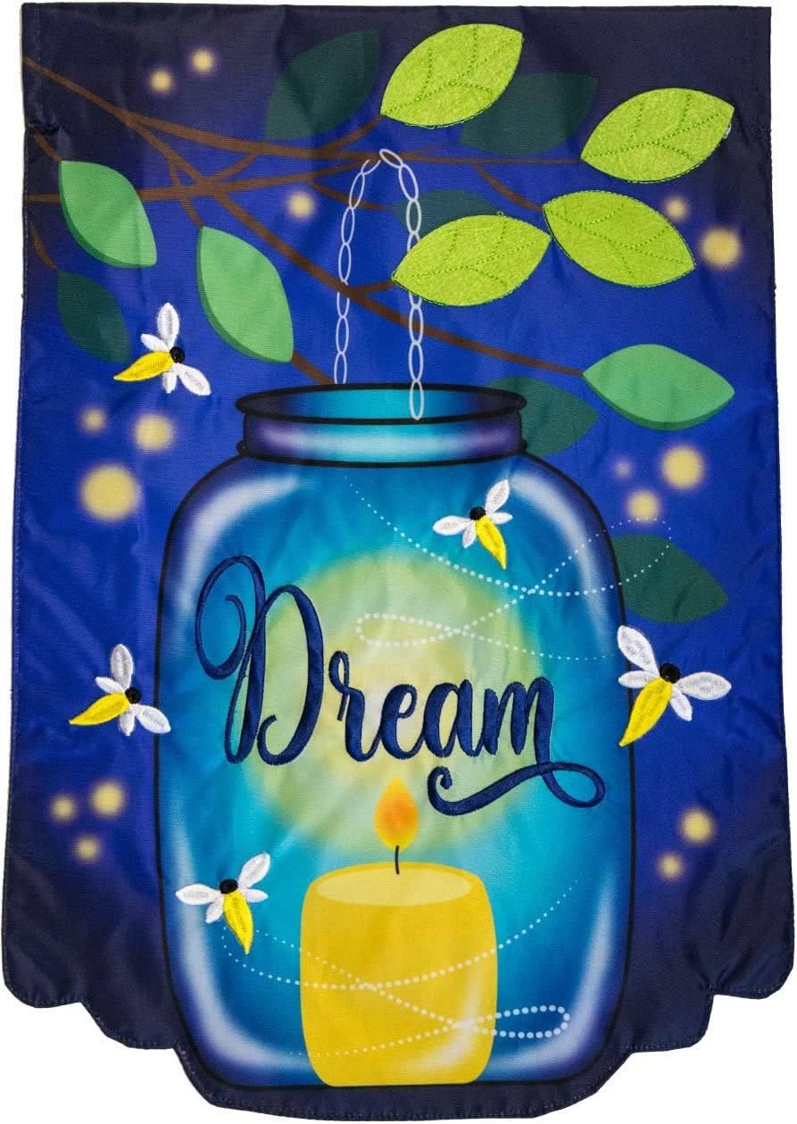"Briarwood Lane Dream Mason Jar Applique Summer Garden Flag Fireflies Candle 12.5"" x 18"""