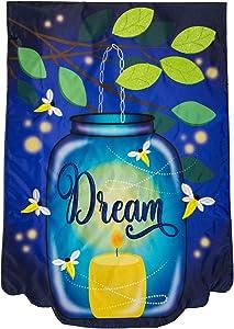 "Briarwood Lane Dream Mason Jar Applique Summer Garden Flag Fireflies Candle 12.5"" x 18"""