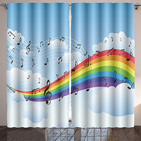 Buy AmaParkhome Happy Rainbow with Music Note Background Room ...