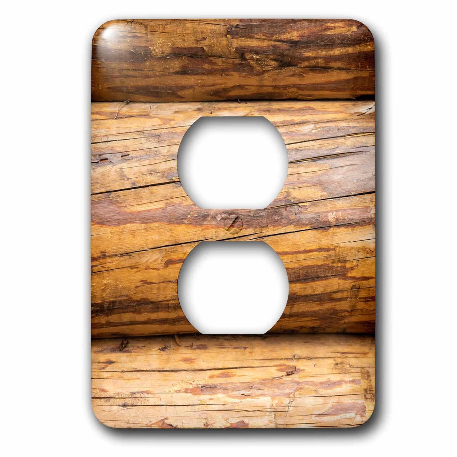 3dRose Alexis Photography - Texture Wood - Image of three horizontal timber logs. Detail view of a wooden wall - Light Switch Covers - 2 plug outlet cover (lsp_286664_6) by 3dRose (Image #1)