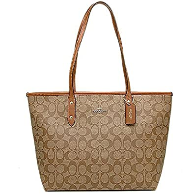 49563cf0db54d Amazon.com  Coach Signature Zip Tote F36876 Khaki Brown  Shoes