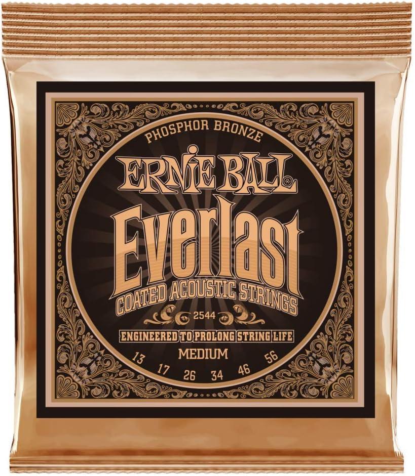 Cuerdas de guitarra acústica de Phosphor Bronce con revestimiento medio de Ernie Ball Everlast - calibre 13-56