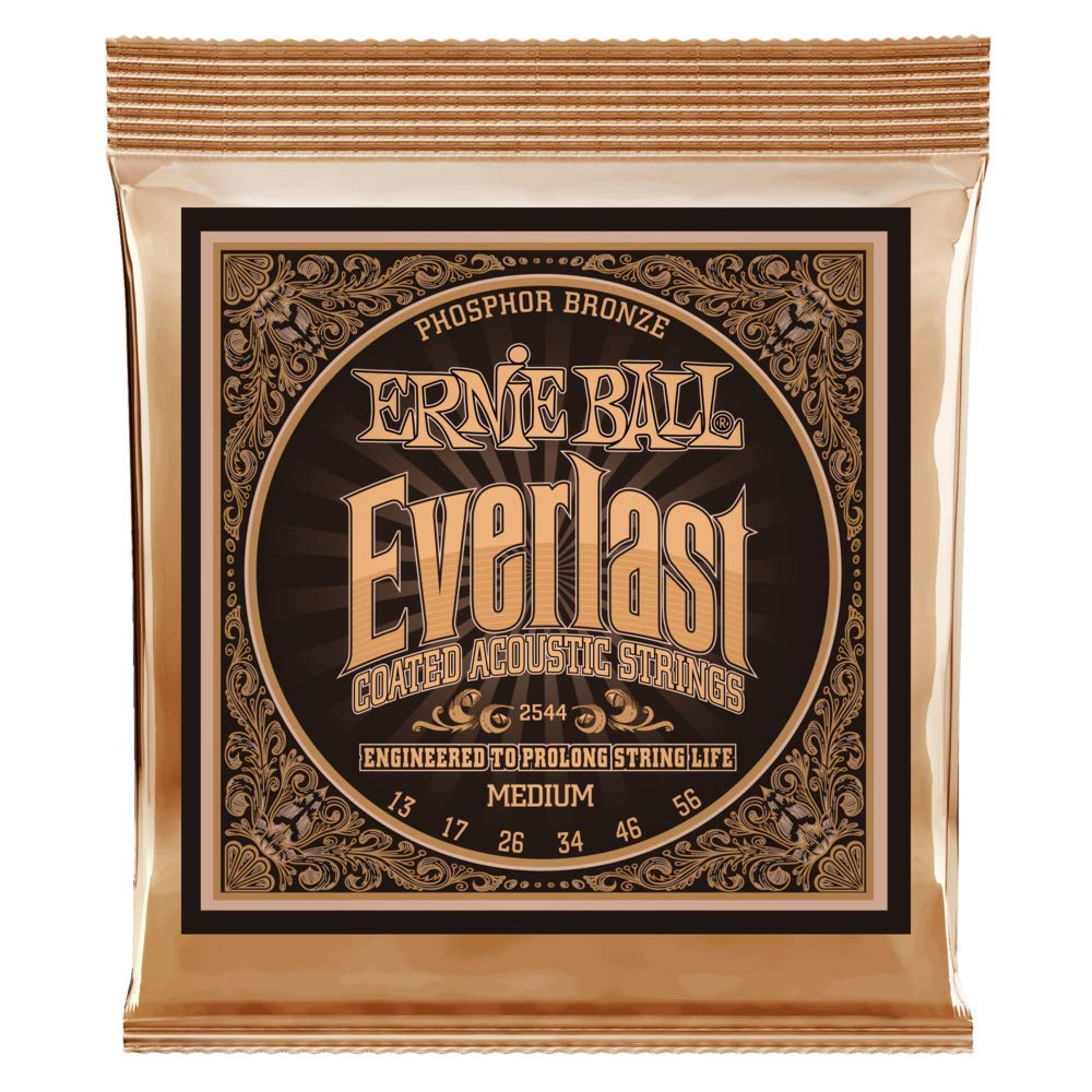 Ernie Ball Everlast Cuerdas de guitarra ac/ústica de bronce fosforado medio revestido 12-54 Calibre
