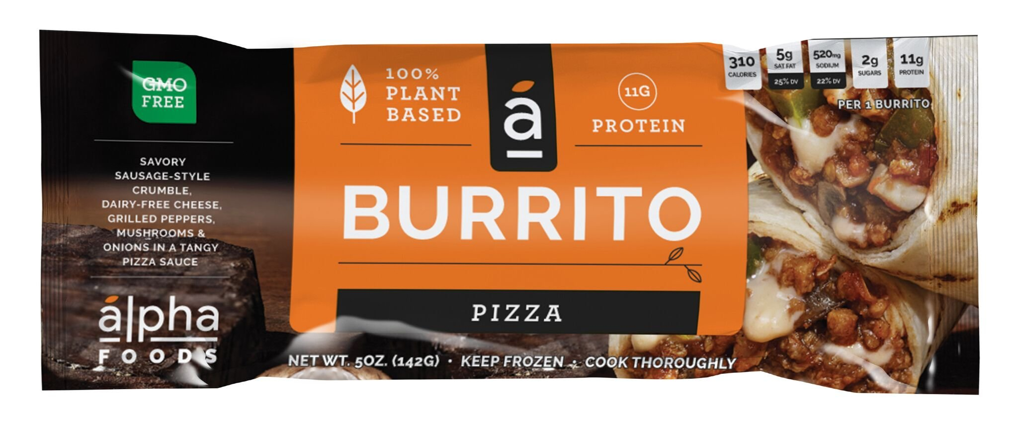 Alpha Foods Plant Based Burrito, Pizza, 5 Ounce (Pack of 12) by Alpha Foods