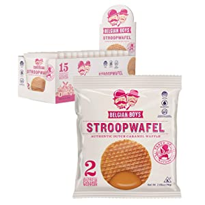 Dutch Caramel Stroopwafel Duo by Belgian Boys, Authentic Waffle Cookies, Individually Wrapped, No Preservatives, Non-GMO, Case of 15 2-packs