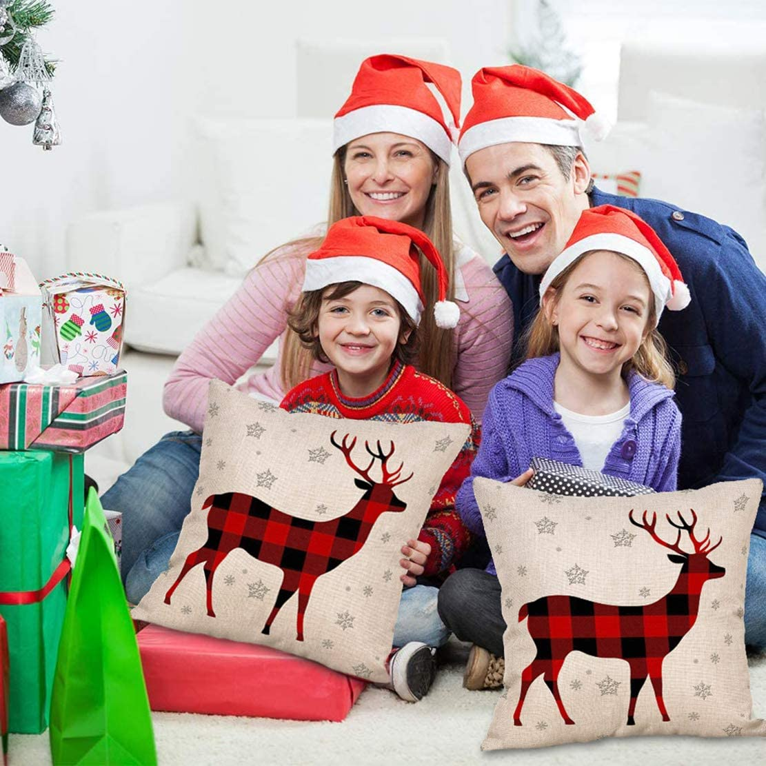 9ABOY Throw Pillow Covers Pack of 2 Christmas Square Pillowcase Supersoft Cotton Linen Home Decor Decorations for Sofa Couch Bed Chair Bedroom Car Reindeer Decorative Cushion Case 18x18-inch