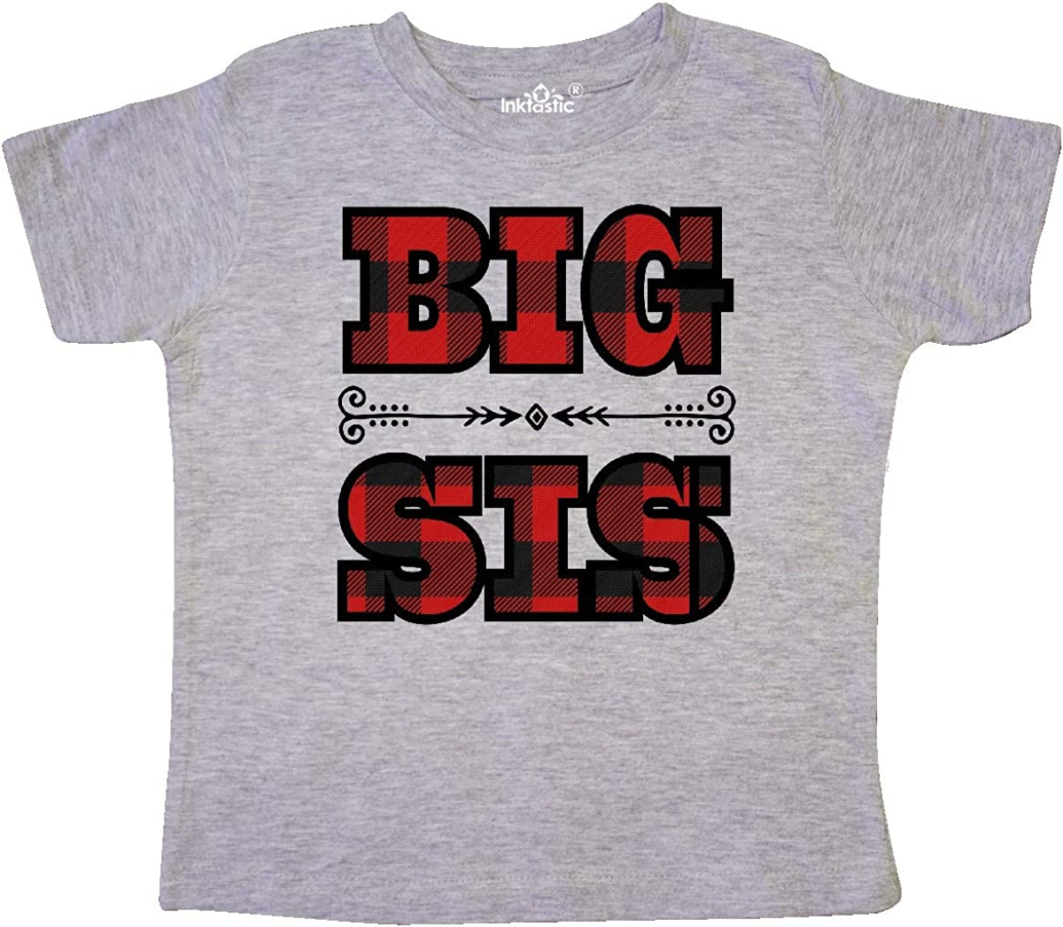 inktastic Big Sis Buffalo Plaid Sister Toddler T-Shirt