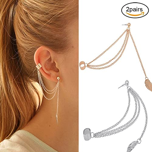 EQLEF® 2 Pairs Women Girl Stylish Punk Rock Leaf Chain Tassel Dangle Ear Cuff Warp Earring Silver And Golden Earrings In Jewellery (Leaf)