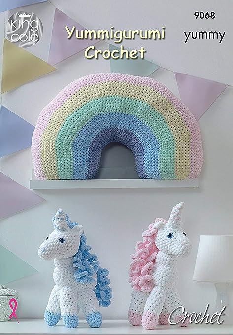 King Cole Knitting Pattern 9068 Crochet Unicorn Cushion Amazon
