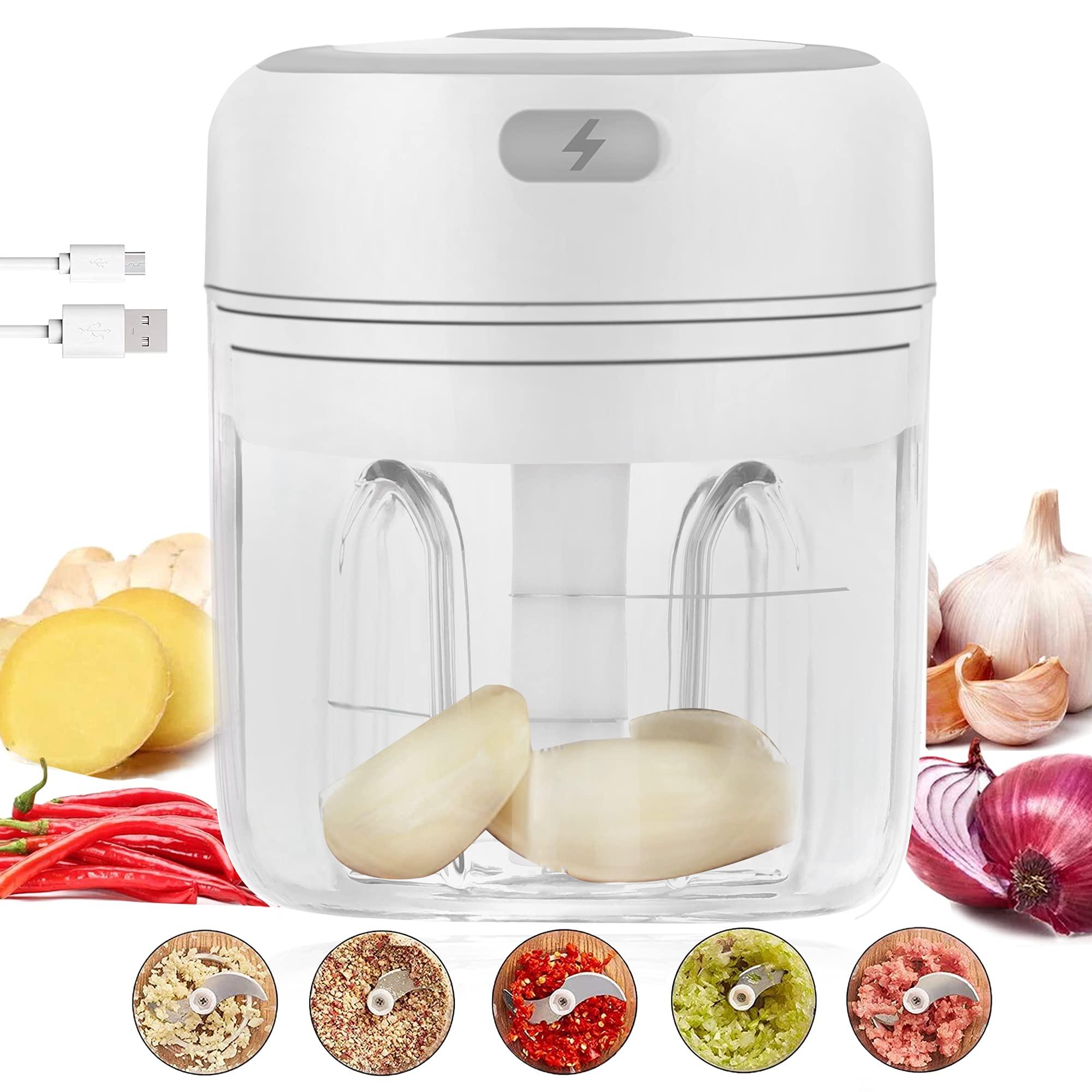 Electric Garlic Chopper Mini Cutter Garlic Masher Powerful Press Portable Food Processor