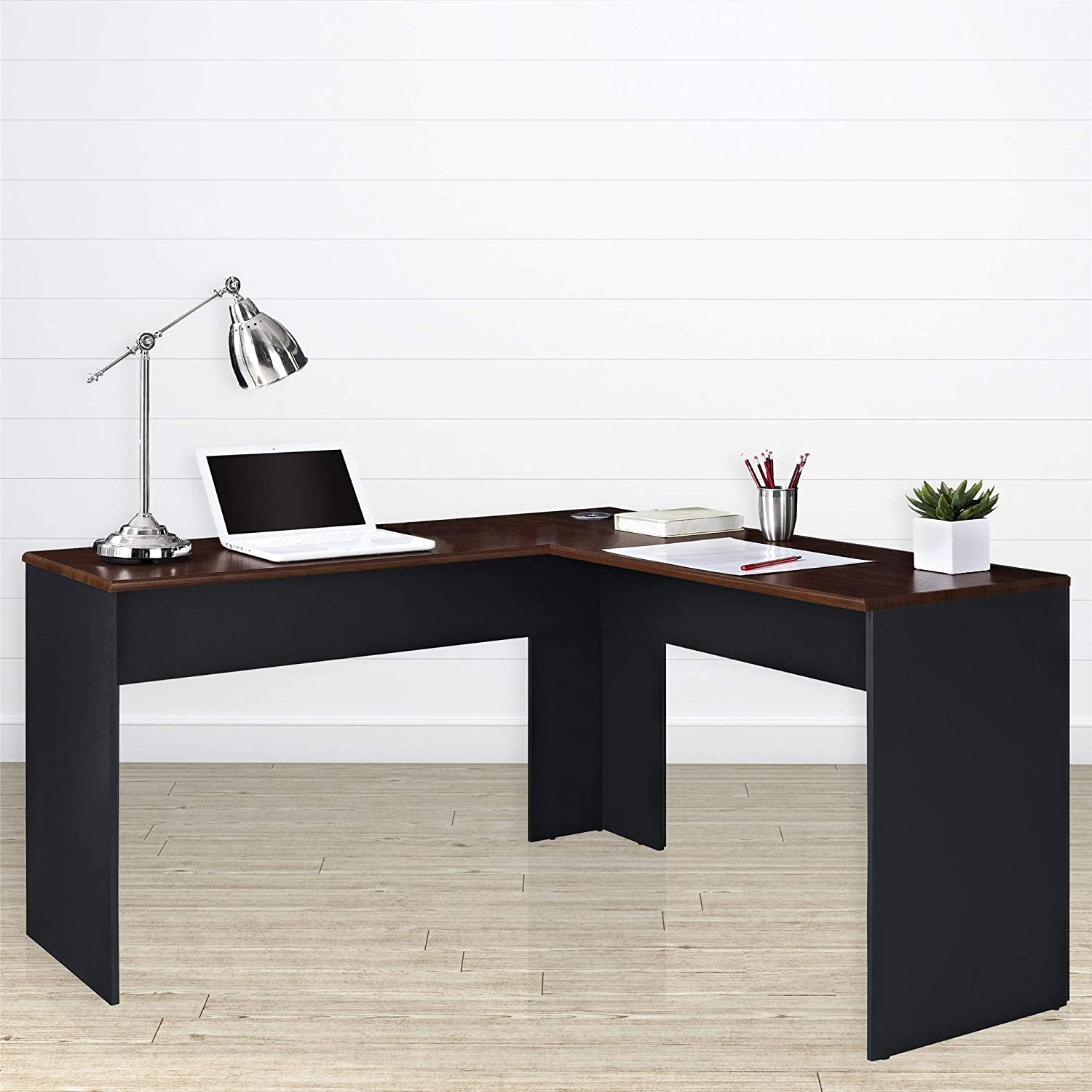 Fabulous Ameriwood Home The Works L Shaped Desk Cherry Gray Interior Design Ideas Jittwwsoteloinfo