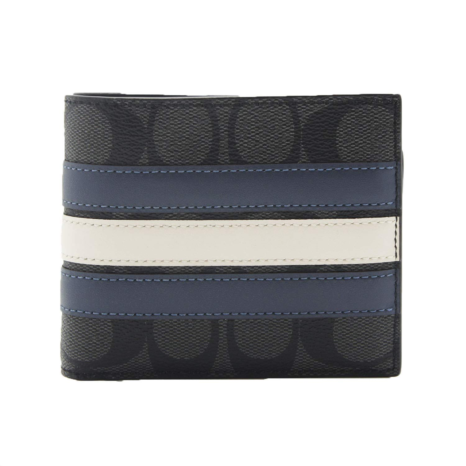 COACH F26072 3-IN-1 WALLET IN SIGNATURE CANVAS WITH VARSITY STRIPE (black) (Grey/Black) by Coach