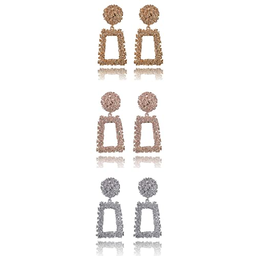74e6e1bff8db8 Gold Statement Earrings Classic Textured Gold/Silver/Rose Gold Geometric  Star Dangle Drop Earrings for Women