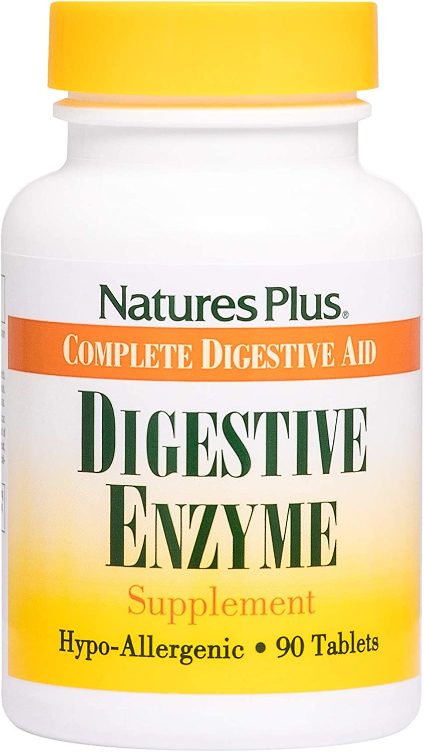 NaturesPlus Digestive Enzyme - 129 mg Pancreatin, 90 Tablets - Healthy Digestion Support with Papain - Aids in Breakdown of Starch, Protein & Fat - Hypoallergenic - 90 Servings