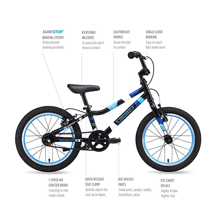 """Guardian Bike Company Ethos Safer Patented SureStop Brake System 16"""" Kids Bike"""