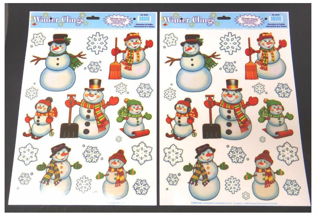 Two sheets of reuseable window clings - snowman and snowflakes 22124