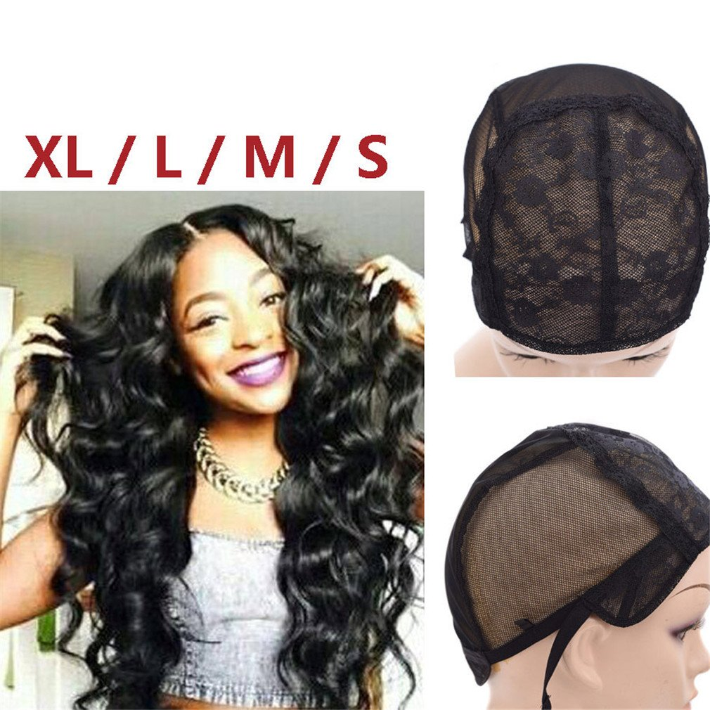Amazon.com : Wigs Grade 10 Hair Black Caps 1Piece S/M/L/Extra Large Wig Making Caps Adjustable Wig Cap Things To Make Wig 1pcs S : Beauty