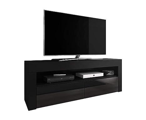 E-Com TV Schrank TV-Möbel TV Möbel Entertainment Lowboard Luna 140 cm Korpus schwarz matt/Fronten schwarz Hochglanz