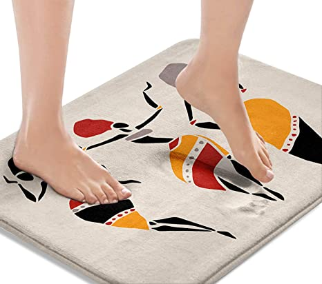 African Dancers Silhouette Washable Cover Floor Rug Carpets Floor Mat Bathroom Decorations 16x24 Inches for Kitchen Bedroom Indoor Britimes Bath Mats for Bathroom Bathroom Mats Rugs No Silp