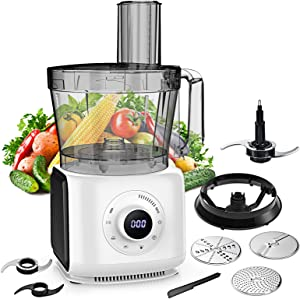 [14 Cup] Food Processor - 2021 MAGICCOS 1000W Food Processor, 7 Variable Speeds, LCD Upgraded Digital Food Processor, Multi-function 7 in-1 Chopping/Slicing/Shredding/Mashing/Doughing, for Family Use