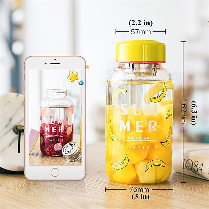 UPSTYLE Cute Mini deporte portátil botella de agua zumo botella boca ancha de cristal con infusor de té y funda para exprimir/té/leche agua/energía bebida ...