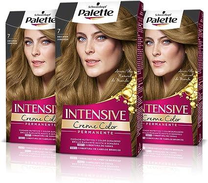 Schwarzkopf Palette Intensive Creme Color – Tono 7 cabello Rubio Medio (Pack de 3) - Coloración Permanente de Cuidado con Aceite de Marula – Perfecta ...